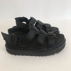 DR MARTENS Yelena black hydro leather sandals Sz 6